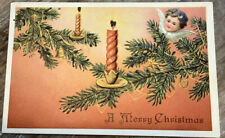 Vintage Merry Christmas Postcard Germany Tree Branches Candles Walnut Angels