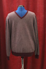 NWT Mens XL Daniel Cremieux Wine Heather Wool & Cashmere V-Neck Sweater $195 New