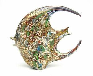 Huge Murano Art Glass Millefiori Gold Leaf Fish Sculpture & Certificate