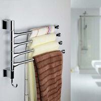 BATHROOM STAINLESS STEEL TOWEL RAIL RACK SHELF BAR SHINE SHELF HANGER 3/4 SWIVEL