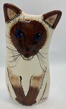 Cats by Nina Lyman Siamese Cat Brown & White, Blue Eyes, Vase 2001, Euc