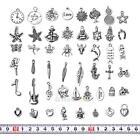 50Pcs Wholesale Bulk Lots Silver Tibetan Mix Pendants Charm Bracelet Jewelry DIY