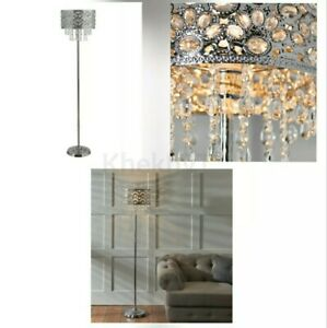 Cross Droplet Silver Crystal Floor Lamp Modern Light Floor Lamp for Living Room