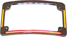 Custom Dynamics chrome radius license plate frame LED light turn signal Harley