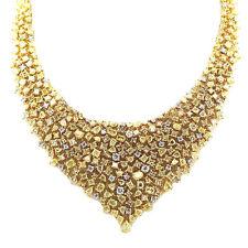 35.65ct Kostüm Intense Gelb Diamanten Halskette 18K Alle Natürlich 49G Echt Gold