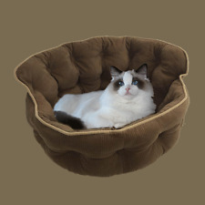 **EX DISPLAY** Brown Pet Lounge, Cat and Dog Basket. Deluxe Quilted Corduroy