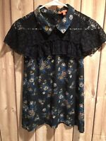 Modcloth Floral Print Short Sleeve Blouse Blue Women's Size Small