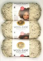 Lion Brand WOOL-EASE THICK & QUICK Yarn Oatmeal BIG SKEIN Bonus Bundle Lot of 3
