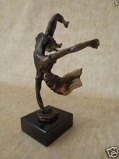 cast bronze listed sculptor Paul Braslow young woman girl cartwheel handstand
