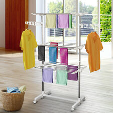 3 Tier Clothes Drying Rack Rolling Laundry Hanger Stand Indoor Outdoor