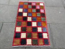 Old Traditional Hand Made Persian Oriental Gabbeh Wool Red Brown 130x80cm