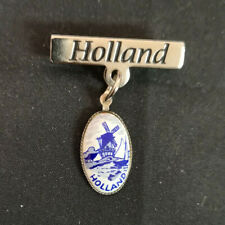 Holland Souvenir Blue Delft Windmill Pin. Superb Condition.