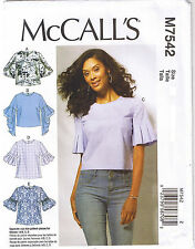 Easy Tops Trumpet Tulip Pleated Bubble Sleeve Sewing Pattern Plus 14 16 18 20 22