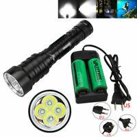 Waterproof 20000LM 4xT6 LED Scuba Diving Flashlight Torch Light Underwater 100m
