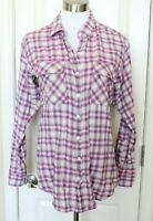 CAbi Purple Plaid Shirt Cotton Lace Up Corset Flannel Top #817 Sz M Medium EUC