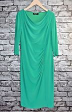 Elegant 3/4 Sleeve Green Softly Draping Cowl Neck Evening Dress Party Size 12