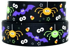 "7/8"" & 1.5"" Grosgrain Ribbon Halloween Candy Corn, Spider, Boo & Bat Printed."