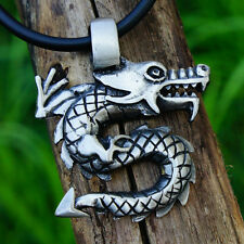 Chinese dragon Medieval Viking Pagan Wicca Magic Pewter Pendant w Black Cord