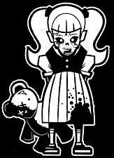 Zombie Girl With Teddy Bear Walking Dead Family Vinyl Decal Sticker