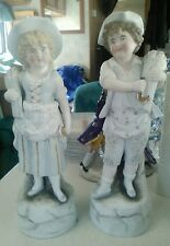 Pair of wheat harvester German Bisque figures