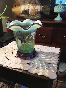 Fenton Designer Showcase Flip Vase & Stand Opalescent Purple Iris Bill Fenton