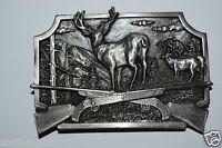 WOW Nice High End Vintage 1982 Deer Hunter Hunting Rifles Solid Belt Buckle MINT