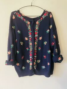 Vintage Cotton Embroideted Cardigan Slouchy Oversized Loose Large