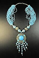 "THE ""EMPRESS"" ETHNIC TURQUOISE VINTAGE NECKLACE MEDALLION BAUBLES BEADS (CL13)"