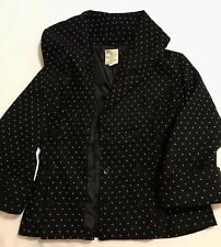New Tulle Jacket Anthropologie Black Polka Dots Wool Blend Peacoat XL NWOT