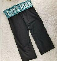 Victoria's Secret PINK blue leopard capri yoga pants SIZE S rhinestone logo (T)