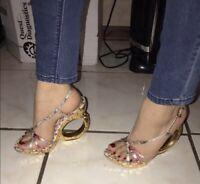 LOUIS VUITTON Gold High Heel Sculpted Wedge Pump Strappy Sandal Shoe 7