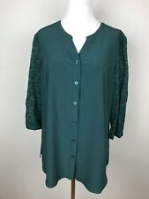 Denim & Co Womens Blouse Green Lace Sleeves Button Up Top Medium V-Neck Shirts