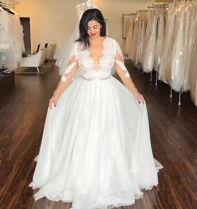 Boho Plus Size V-neck Wedding Dresses Long Sleeve A-line Bridal Gowns Custom