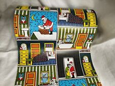"""2 Yards 10"""" Wide Department Store Wrapping Paper Gift Wrap Vtg Christmas Santa"""