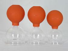 Schröpfglas Schröpfgläser 3 Stück im Set 45 55 65 mm mit Saugball zum Schröpfen
