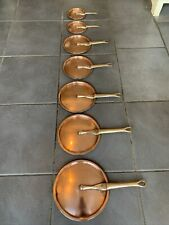 More details for set of vintage french copper tin lined saucepan frying pan lids