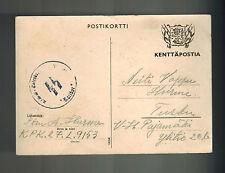 1940 Germany FInland Volunteer Waffen SS Feldpost Postcard Cover Turku Totenkopf