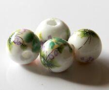 30pcs 10mm Round Porcelain/Ceramic Beads - White / Green Flowers