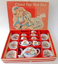 Vintage Child's Tea Set in Box Duck Tows Rabbit in Umbrella Japan