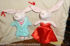 """Olivia The Pig 8"""" Plush Lot of 2 Jammies Robe & Red Dress"""