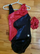 New Snowflake Designs Gymnastics Leotard Child Large Shiny Red Black NWT