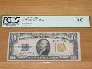 1934A $10 Ten Dollar North Africa Silver Certificate PCGS 35 Very Fine