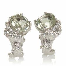 Victoria Wieck White Rhodium Prasiolite Gems Textured Sterling Silver Earrings