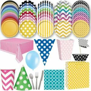 Colourful Party Decoration Disposable Dishes Set Children Birthday Cardboard