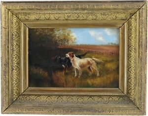 Setters Dogs in a Landscape Antique Oil Painting 19th Century British School