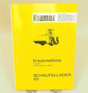 Kramer Allrad 611 Schaufellader Ersatzteilliste Ersatzteilkatalog ca 1971
