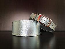 MEDIUM Leather Dog Collar LINED Greyhound Whippet Lurcher BABY BLUE METALLIC