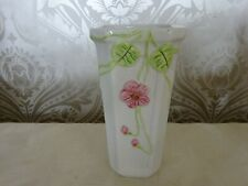Vintage Retro Portugal Ceramic Square Vase Pink Flowers Vase 20cm tall