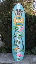 SPLASH ZONE TURQUOISE TROPICAL SURF BOARD DECORATIVE ART TIKI POOL PLAQUE SIGN