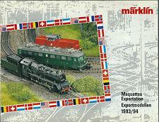 Catalogue Märklin Maquette exportation Exportmodellen 1993 katalog catalogo